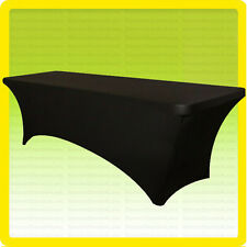 SPANDEX 6' Fitted Tablecloth Wedding Banquet Party Stretch Table Cover, BLACK