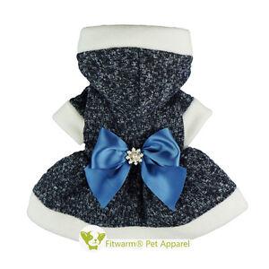 Fitwarm Rhinestones Dog Clothes Dress Pet Sweater Party Hoodies Winter Coat Girl