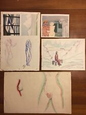 Lot of Natalia Goncharova Watercolor Paintings Russian Avant Garde Signed