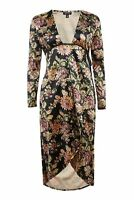 Topshop Velvet Floral Print Plunge Dress - Black - UK 6/EU 34/US 2 - RRP £49 New