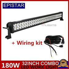 32 INCH 180W LED WORK LIGHT BAR COMBO BEAM Off Road 4x4 4WD With Free Wiring Kit