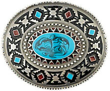 with Blue Stone Detail Silver Tone Belt Buckle