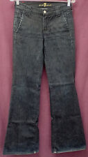 """SEVEN 7 FOR ALL MANKIND sz 25 DARK BLUE JEANS FLARED LEG meas 26""""x32"""" (#1201-16)"""