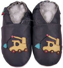 shoeszoo soft sole leather baby shoes crane dark grey 0-6m S