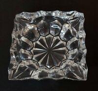Vintage Ashtray Square Heavy Lead Crystal Cut Clear Glass Cigar Cigarette MCM