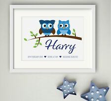 BOY New Birth Newborn Personalised Name Print Christening Gift Nursery OWL