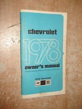 1978 CHEVY IMPALA CAPRICE OWNERS MANUAL ORIGINAL RARE GLOVE BOX BOOK