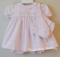 NWT Petit Ami Pink Ruffle Rose 3pc Dress Preemie Baby Girls Bloomers & Bonnet
