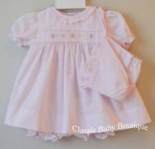 NWT Petit Ami Pink Ruffle Rose 3pc Dress Newborn Baby Girls Bloomers & Bonnet
