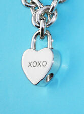 Tiffany & Co Sterling Silver Notes XOXO Love Kisses Heart Padlock Charm ONLY