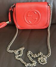 Authentic Gucci Soho Leather Small Chain Crossbody Shoulder Bag Orange
