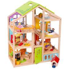 Maison de poupée complet avec meubles marionnettes famille chien flexible