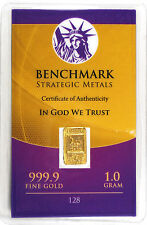 GOLD 1GRAM 24K PURE GOLD BULLION BENCHMARK ELEMENTAL BAR 999 FINE GOLD C7c