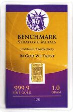 GOLD 1GRAM 24K PURE GOLD BULLION BENCHMARK ELEMENTAL BAR 999 FINE GOLD C10c
