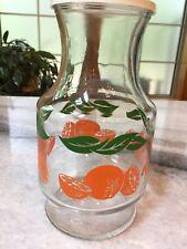 "Vintage, 1980s, Oranges Glass Carafe Pitcher/Jug/Container - MINT - 3.5"" x 9"""