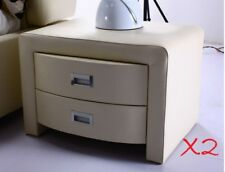2 X PU Leather Bedside Tables With Drawer brown & creamy beige
