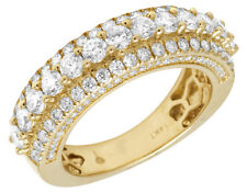Mens 14K Yellow Gold 3 Row 3D Genuine Diamond Engagement Wedding Ring Band 3CT