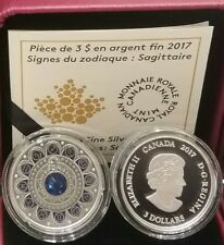 2017 Sagittarius Zodiac $3 Pure Silver Proof Canada Coin with Crystal