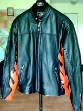 New Flames Leather Motorcycle Bike Mens Jacket (52 42) & Chaps (L-XL ) Set