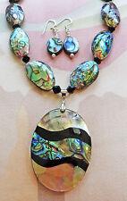 "ABALONE BD, GLASS BD necklace ABALONE & SHELL pendant, earrings 17"" & extender"