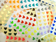 130 Labels 13x12mm Hearts Black Colour Code Stickers Self-adhesive