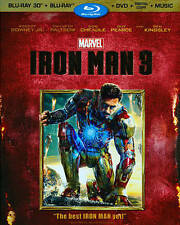 Iron Man 3 (Blu-ray Disc, 2013) NO CASE COMES IN PLAIN WHITE SLEEVE