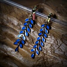 Boucles d`Oreilles Clips Goutte Feuille  Bleu Fin Retro Style Original Cadeau F1