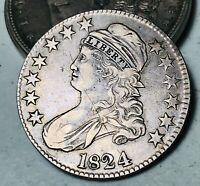 1824 Capped Bust Half Dollar 50C High Grade O-105 Good 90% Silver US Coin CC5546
