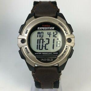 Timex Expedition Mens 334 Indiglo Chronometer Alarm Black Nylon Digital Watch