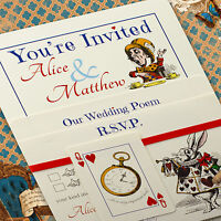 Personalised Vintage Alice in Wonderland Wedding Invitations inc Envelopes Ivory