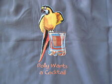 CARIBBEAN  Embroidered Parrot  POLLY WANTS A COCKTAIL Shirt sz XL NWT