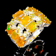 Beauty Rainbow7x5mm Natural Orange Opal 925 Sterling Silver Ring Size 9/R121720