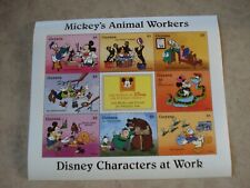Guyana Souvenir Sheet 8 Stamps Disney Mickey's Animal Workers