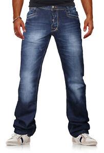 Herren hochwertige Jeans Denim Hose VIEWWAY'S Normaler Bund Used-Look (3615)