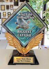 "Catfish Fishing Trophy Resin Diamond 7"" Tall Free Text P*55407Gs Small Award"