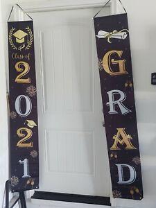 2021 Graduation Porch Sign Banner, Black & Gold Class of 2021 and Congrats Grad