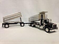 Kenworth W900 Twin Dump Truck, 1:32 Scale Diecast, New Ray Toy, Black