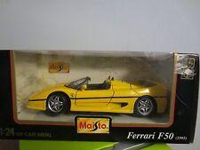 NIB MAISTO 1:24 DIE CAST METAL FERRARI F50 1995 YELLOW