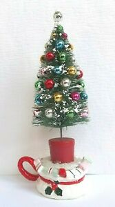 Vintage MERCURY GLASS Bead BOTTLE BRUSH Tree JAPAN Ceramic CANDLE HOLDER Display