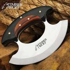 Timber Wolf Ulu Full Tang Fixed Blade Knife Chopper Kitchen Claw Wood w/ Sheath