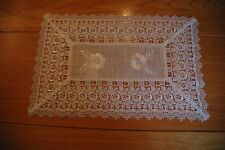 """Luxury linen pure colour placemat with embroidery and lace 30 x 45cm/12"""" x 18"""""""