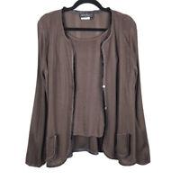 Salvatore Ferragamo Womens 2 Piece Brown knit Tank Top Cardigan Set Size L/XL