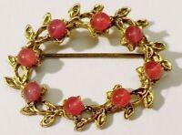 broche bijou vintage ovale feuille relief cabochon de verre couleur or * 4326
