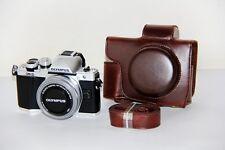 Coffee Leather Camera case bag for Olympus OM-D E-M10 Mark II w/ 14-42mm EZ lens