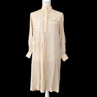 Authentic FENDI Logos Long Sleeve One Piece Dress Ivory Vintage Y03581