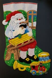 "Finished Bucilla "" Woodworking Santa 18"" Christmas Stocking - Handstitched"