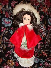 Danbury Mint A-397 Christmas Girl Red Velvet Brunette Dress Cape Porcelain Doll