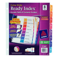 Avery Ready Index Customizable Table Of Contents Asst Dividers 8-Tab 11 X 9 1/2