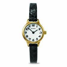 Sekonda 22mm Ladies Gold Watch With Fine Black Crocodile Band SK4473