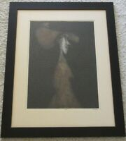 R ELLIS SIGNED ETCHING ABSTRACT WOMAN WITH HAT EXPRESSIONIST MID CENTURY MODERN